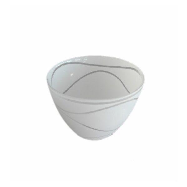 Abajur din sticla SUYOLU alb cu linii transparente