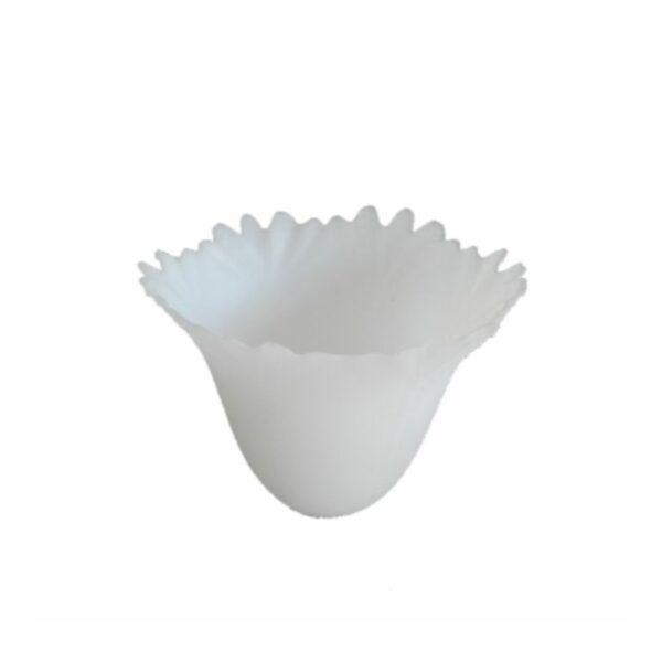 Abajur din sticla SUYOLU alb transparent cu margine dantelata