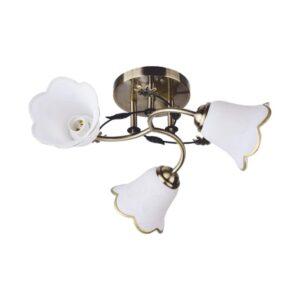Lustra Bellis metal cu 3 becuri,abajur sticla alb, 3XE27,bronz+alb