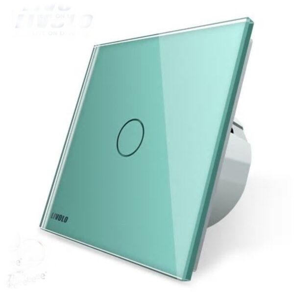 Intrerupator simplu cu touch Livolo din sticla, conectivitate prin protocol ZigBee, Alb