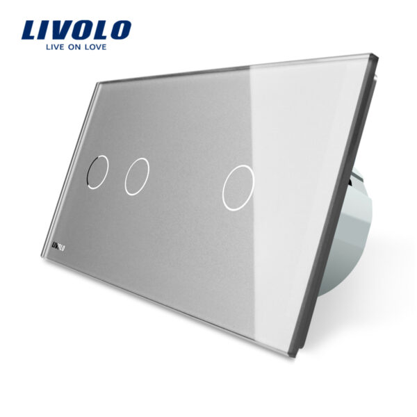Intrerupator dublu + simplu cu touch Livolo din sticla