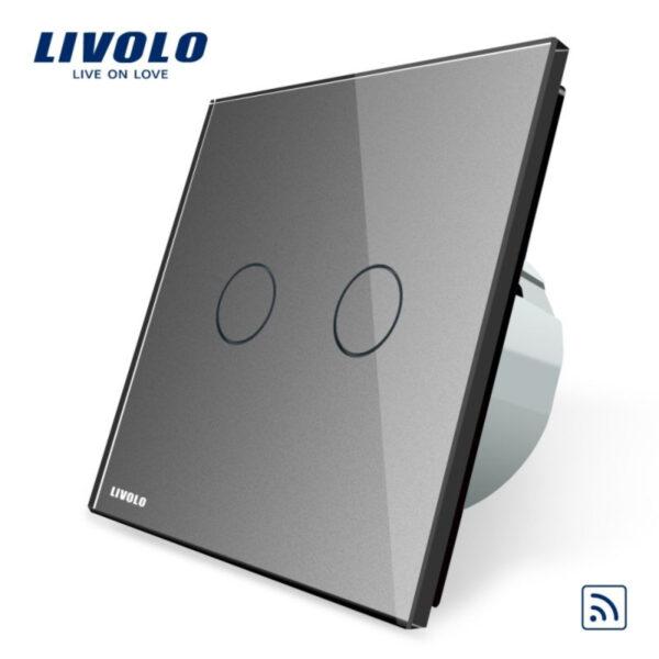 Intrerupator dublu wireless cu touch Livolo, din sticla