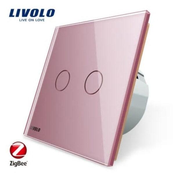 Intrerupator dublu cu touch Livolo din sticla, protocol ZigBee