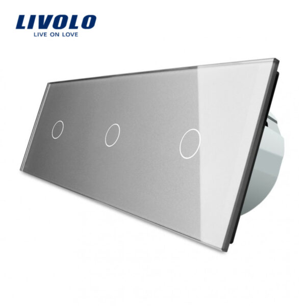Întrerupător tactil LIVOLO 3 clape (1+1+1), 3 posturi