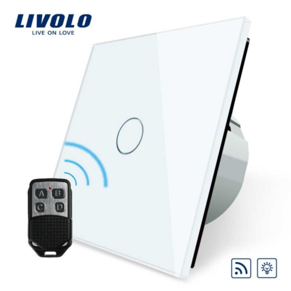 Intrerupator simplu, dimabil, wireless + telecomanda tip breloc VL-C701DR-11/12/13/15 + VL-RMT-02