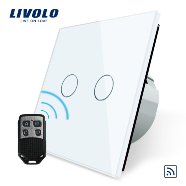 Intrerupator dublu, wireless + telecomanda tip breloc VL-C702R-11/12/13/15 + VL-RMT-02